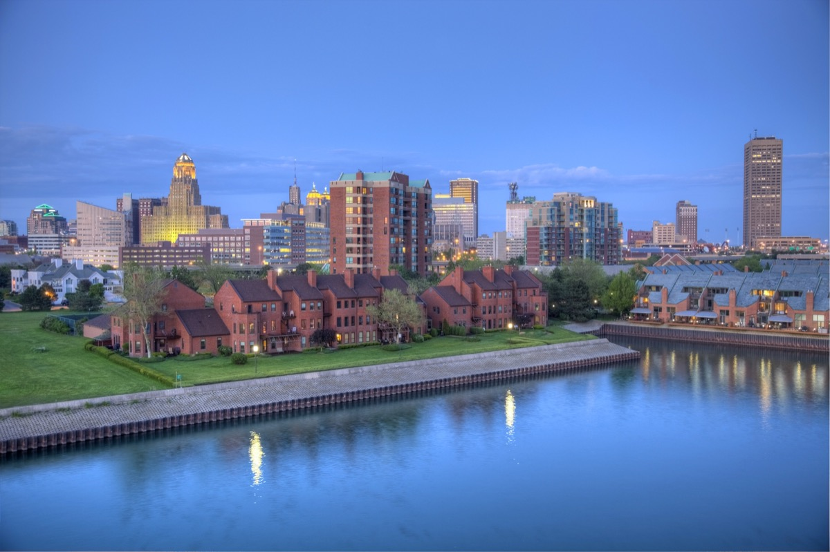 waterfront and city skyline of Buffalo, New York at dusk