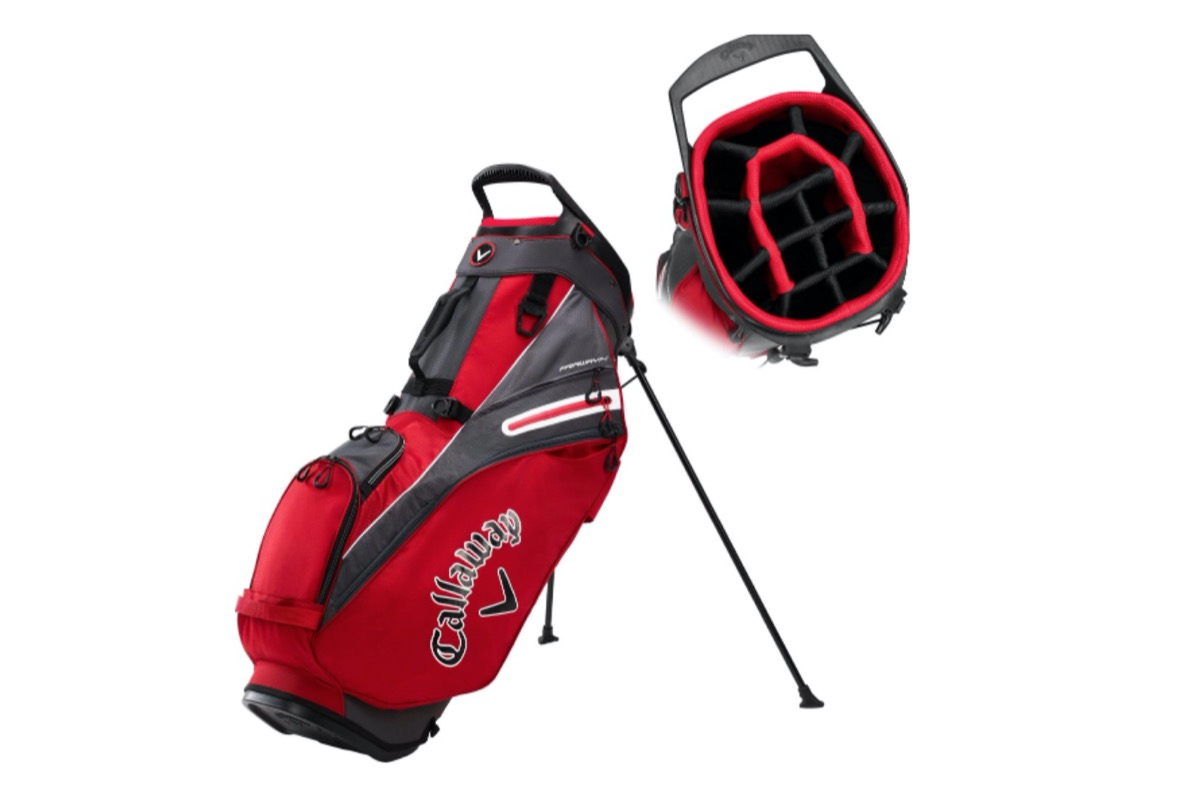red golf bag with stand