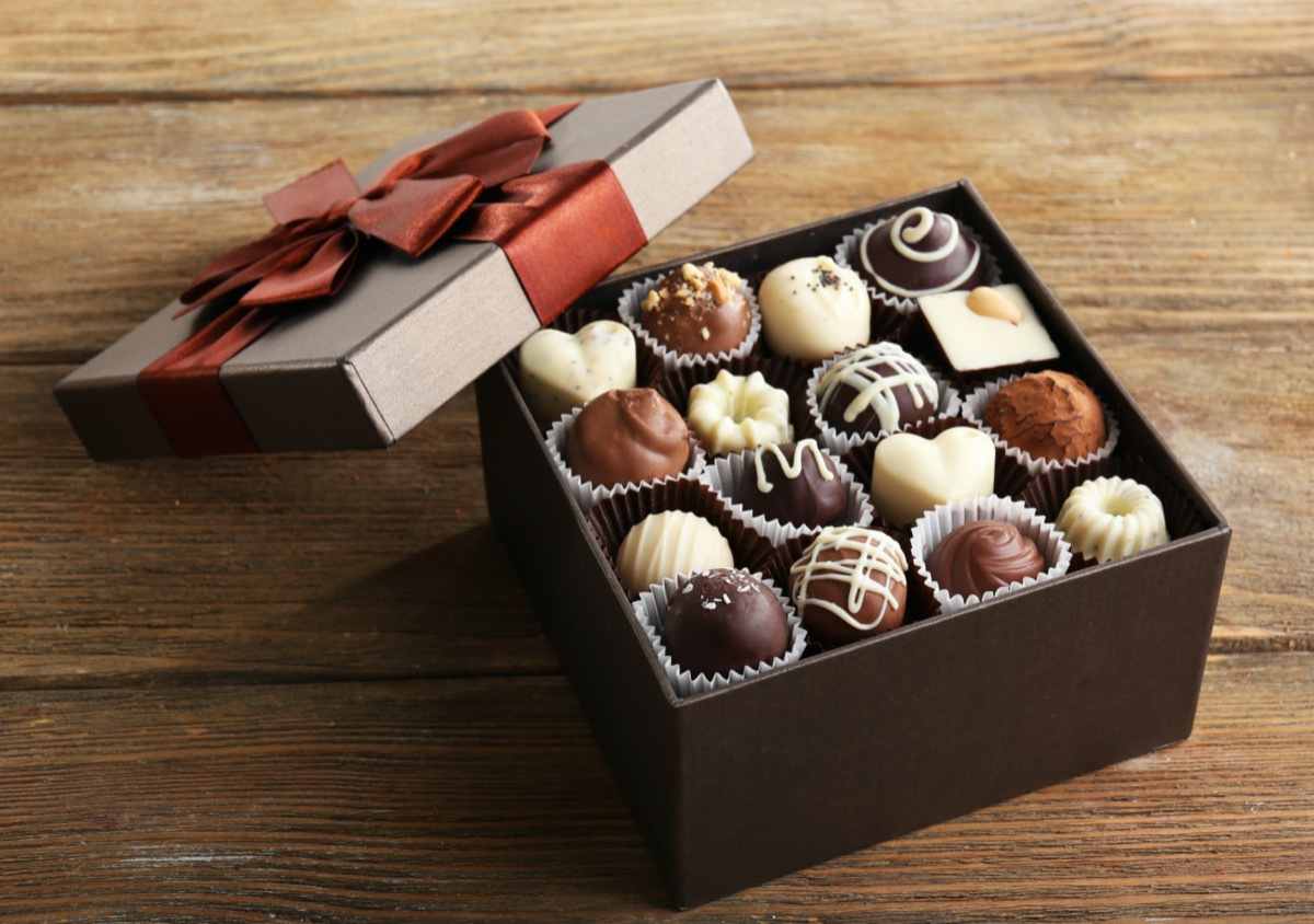 box of chocolates with bow