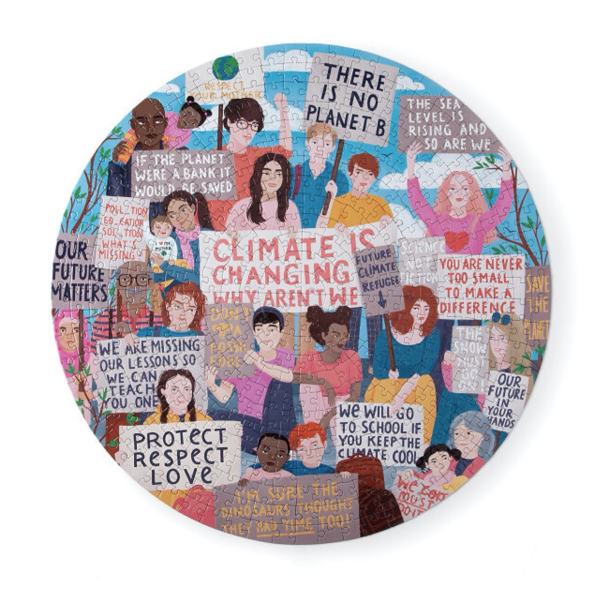 climate action puzzle with images of people holding up protest signs