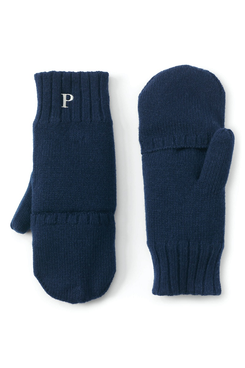 blue mittens with embroidered P on wrist