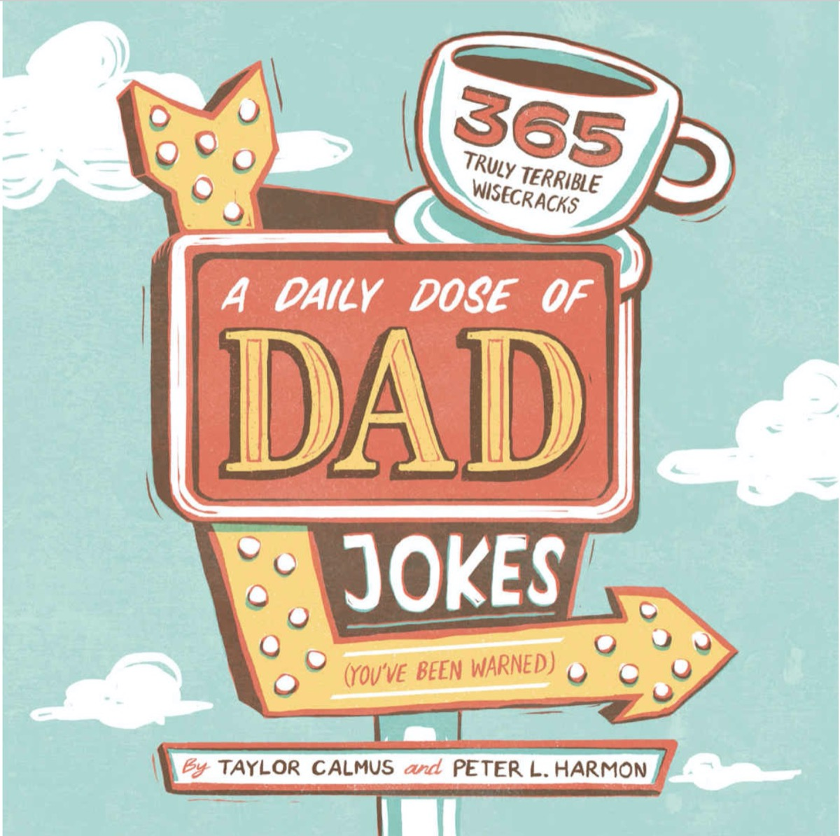 """book with green or blue cover reading """"a daily dose of dad jokes"""" on a retro sign"""