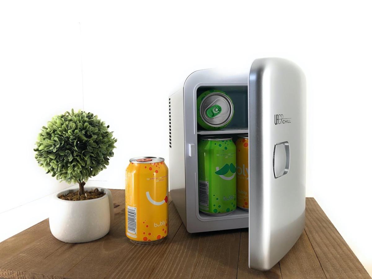 silver mini fridge