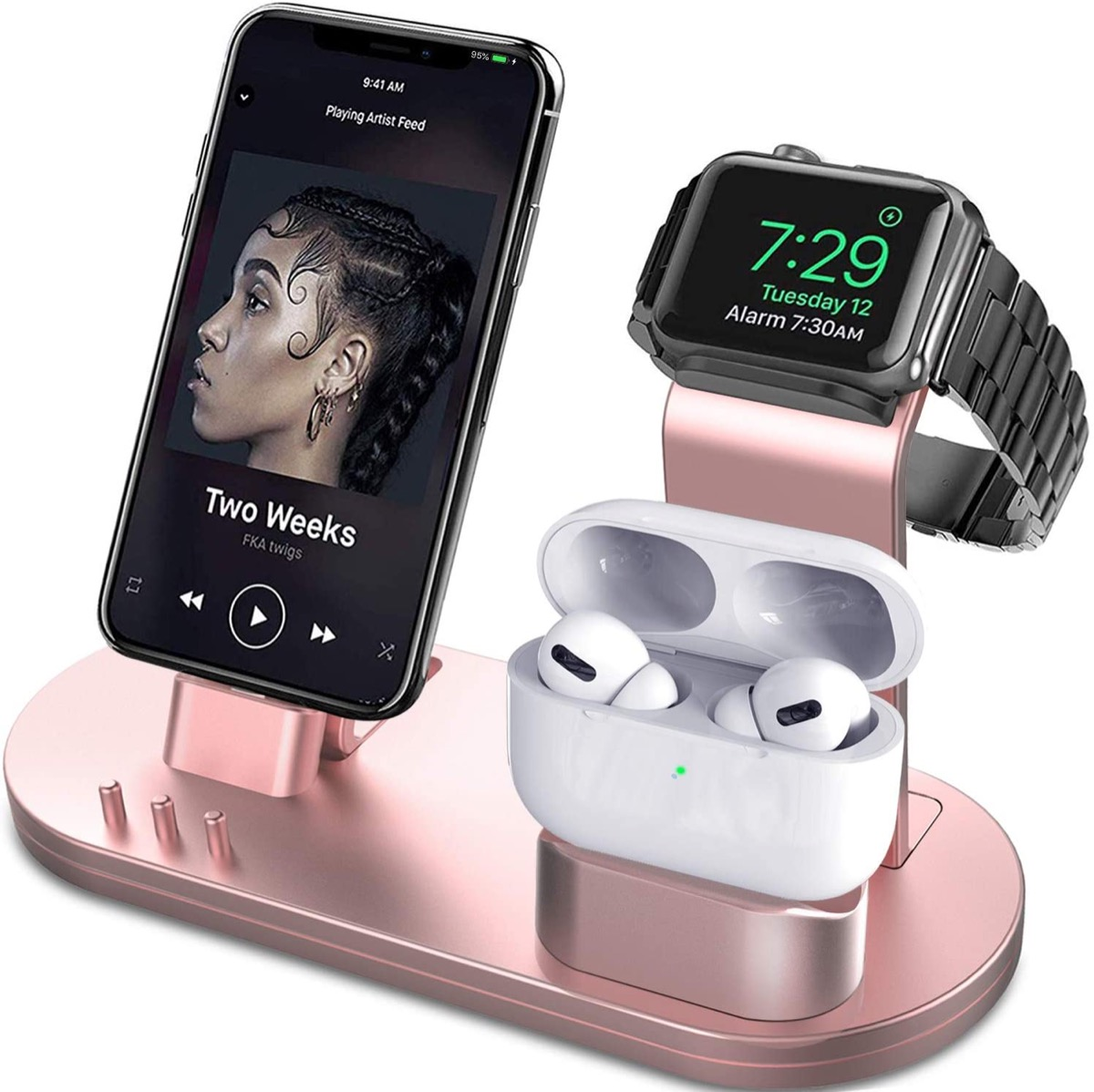 rose gold device charging stand with apple watch, earbuds, and iphone