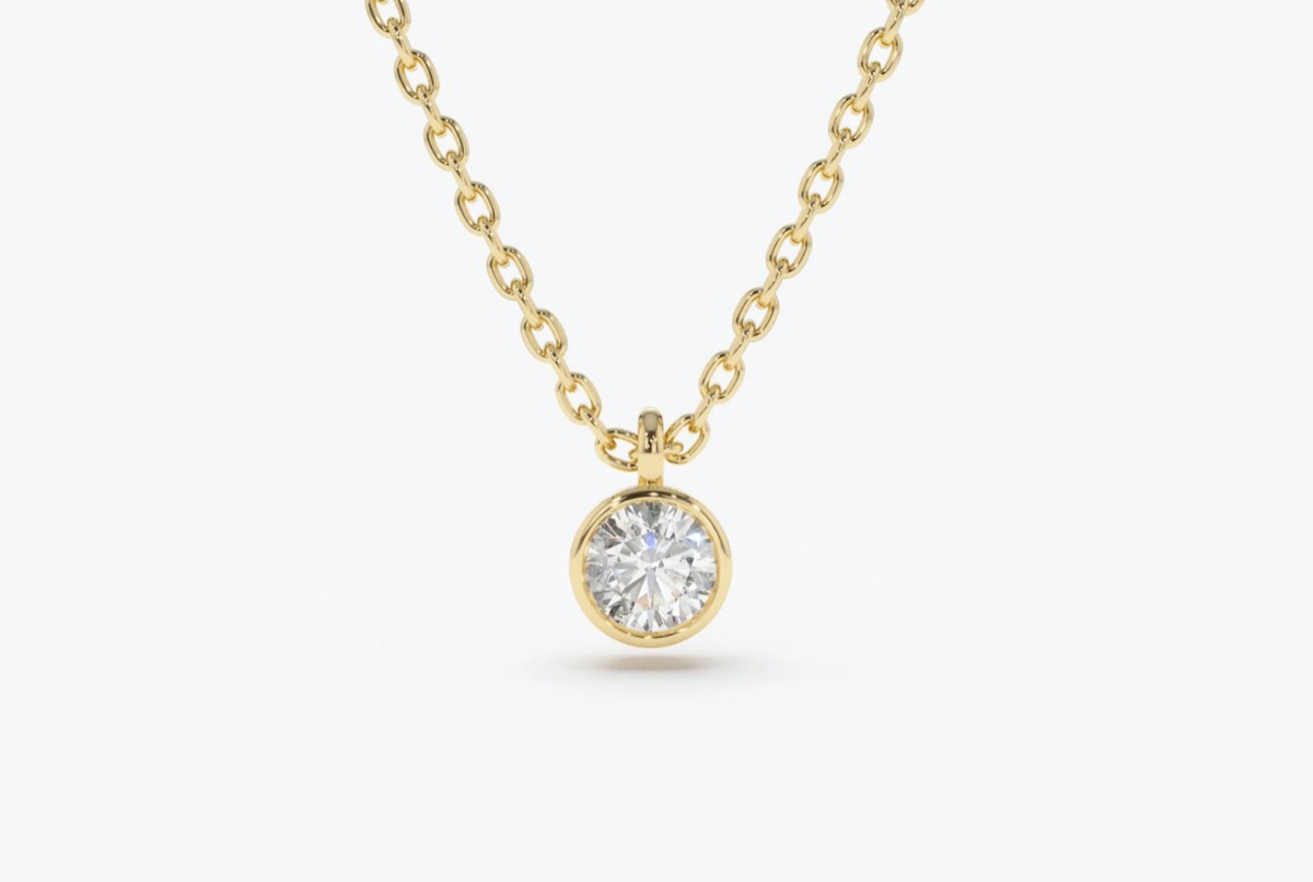 diamond solitaire necklace on yellow gold chain