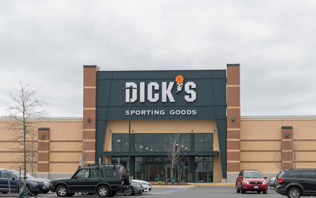 the outside of and parking lot next to a sporting goods store in Philadelphia, Pennsylvania