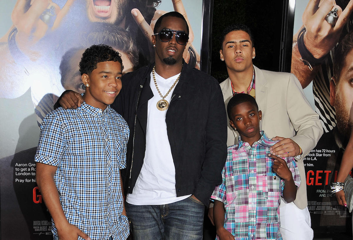 """Sean p Diddy Combs with sons at """"Get Him To The Greek"""" Premiere at the Greek Theatre In Los Angeles"""
