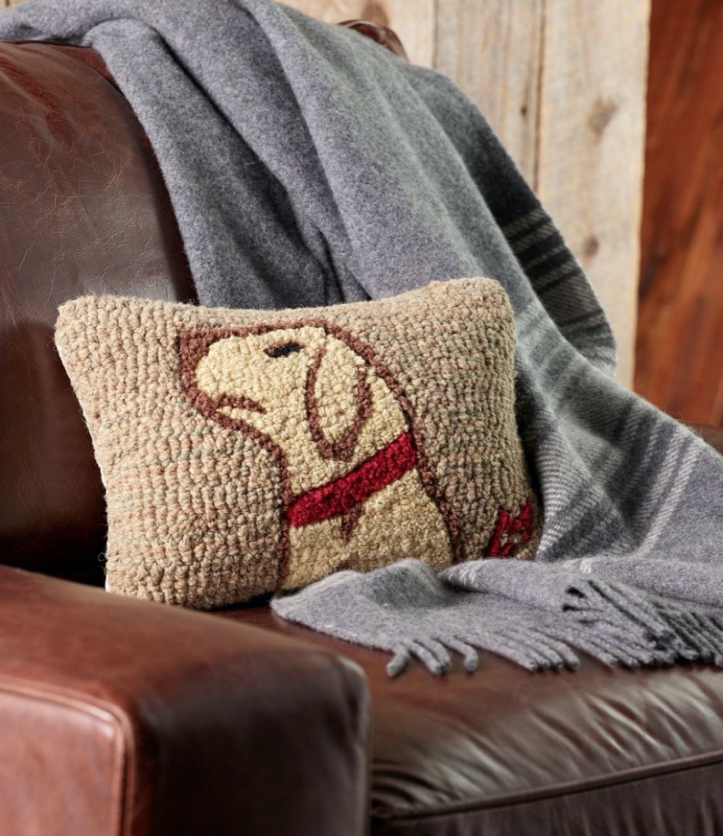 needlepoint pillow with yellow labrador in profile