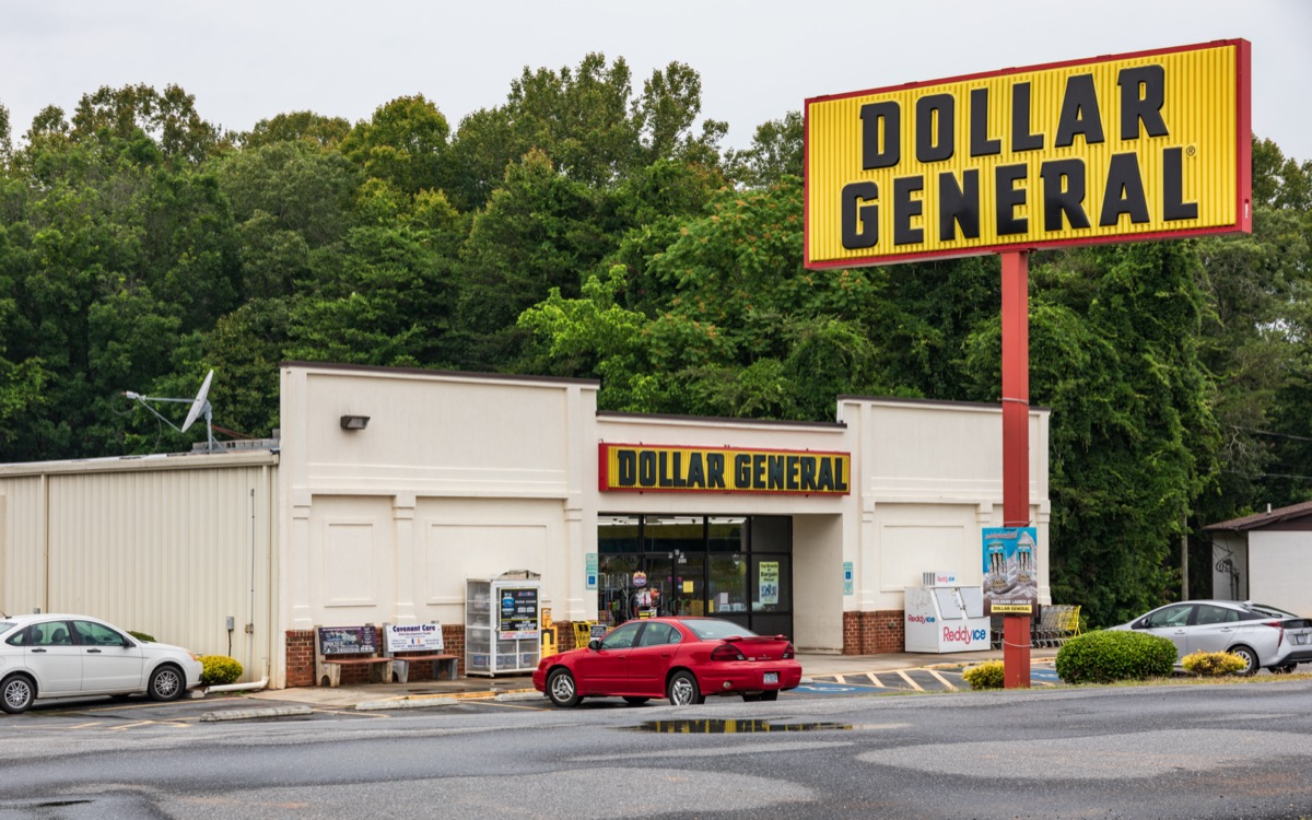 the outside and sign of a Dollar General Store in Bethlehem, Pennsylvania