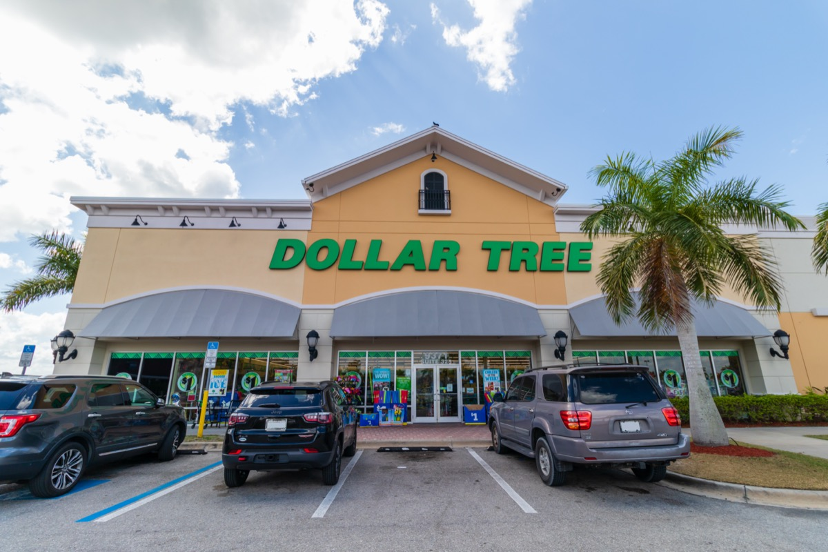 the outside of and parking lot in front of a Dollar Tree Store in Fort Myers, Florida