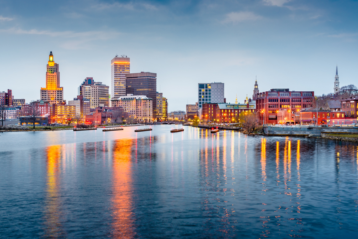 The skyline of Providence, Rhode Island at dusk.