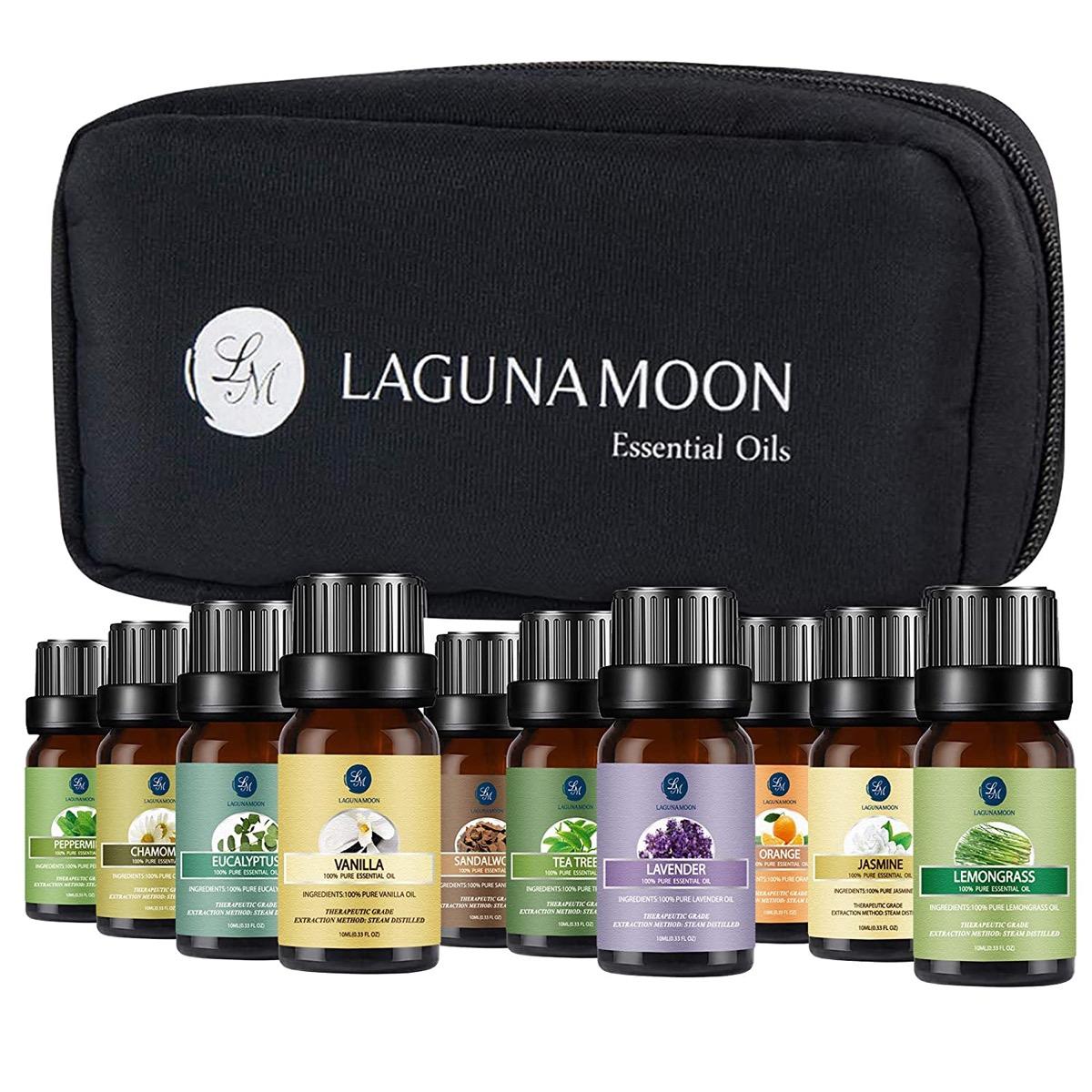bottles of essential oils and black case