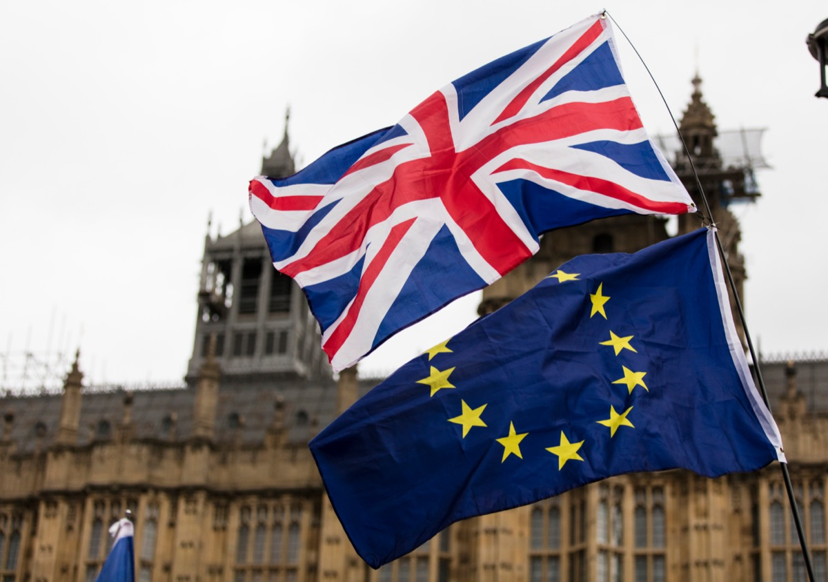 the European Union and British Union Jack flag together