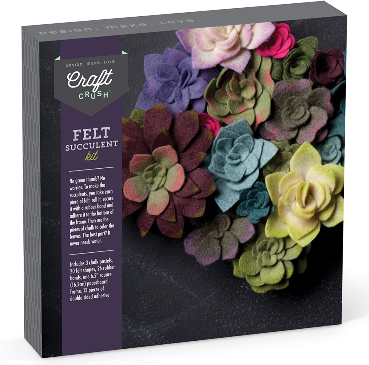 black box with pictures of colorful felt succulent plants on it