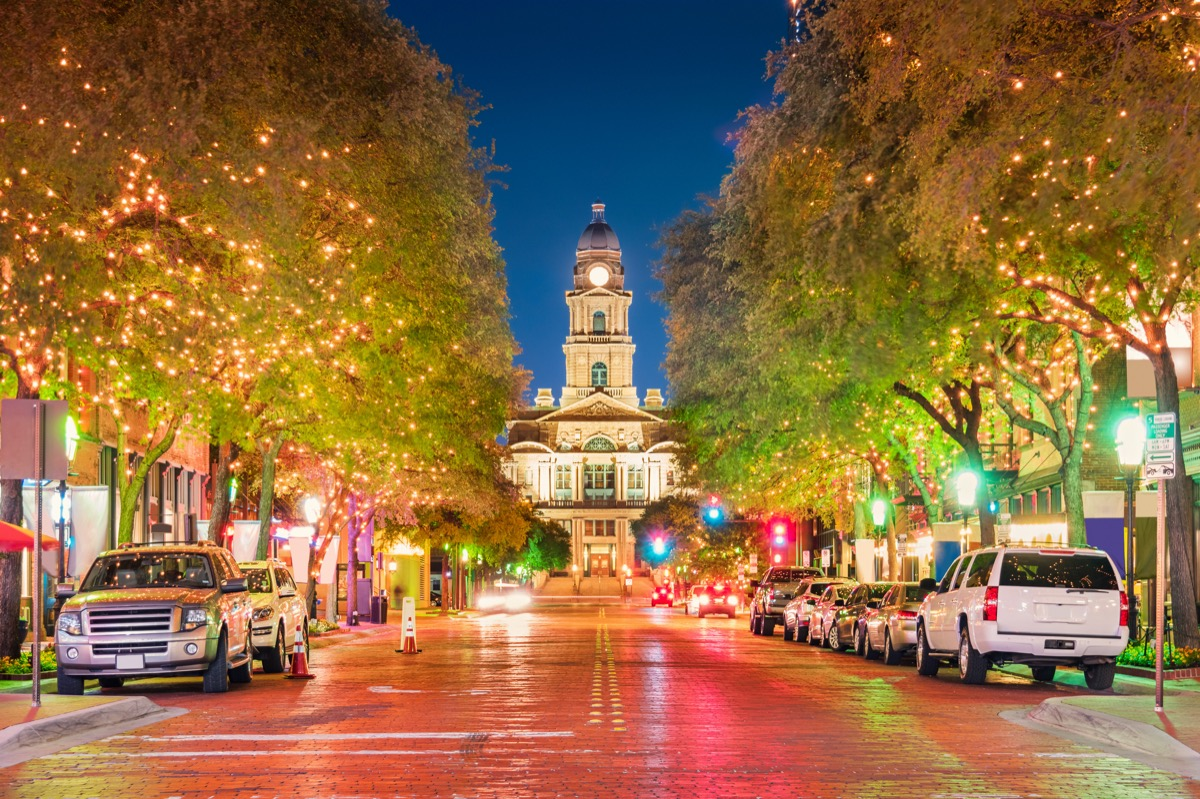 cityscape photo of courthouse building and illuminated street in Forth Worth, Texas