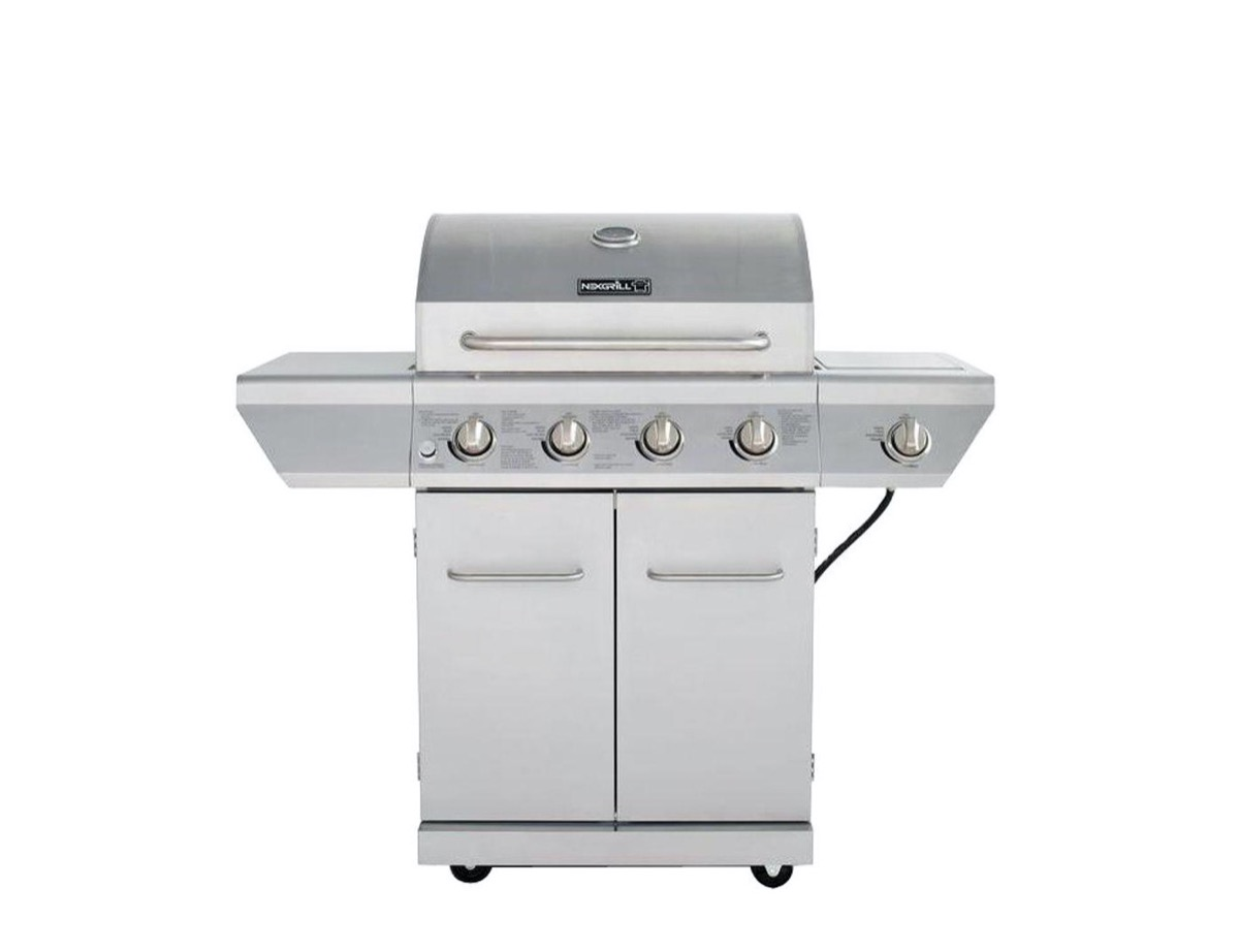 silver four-knob outdoor grill
