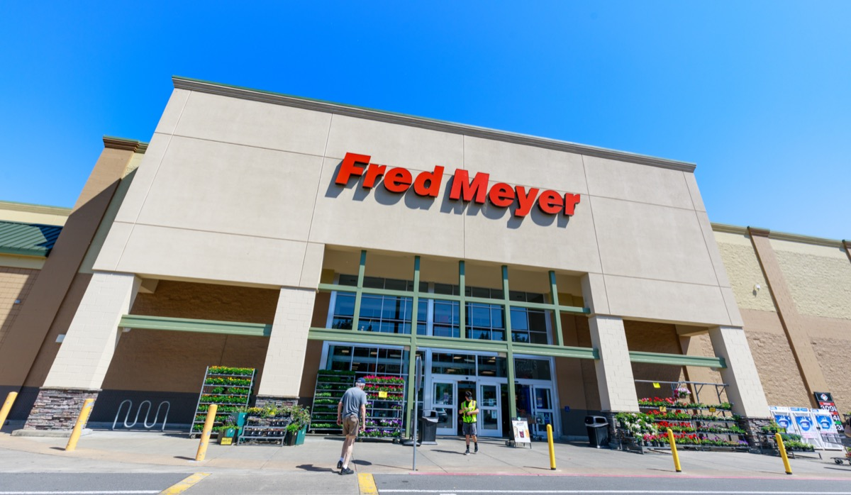 the outside and entrance of a Fred Meyer store in Portland, Oregon