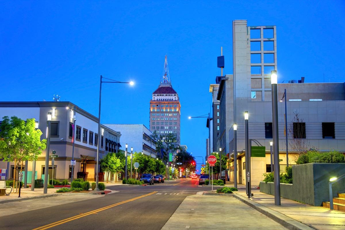 cityscape photo of downtown Fresno, California at dusk