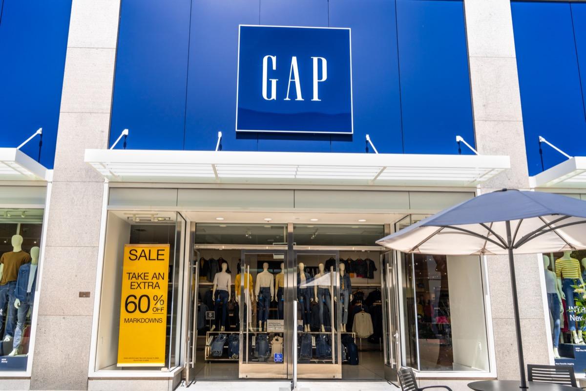 the entrance of a Gap store at a shopping center in Palo Alto, San Franciso