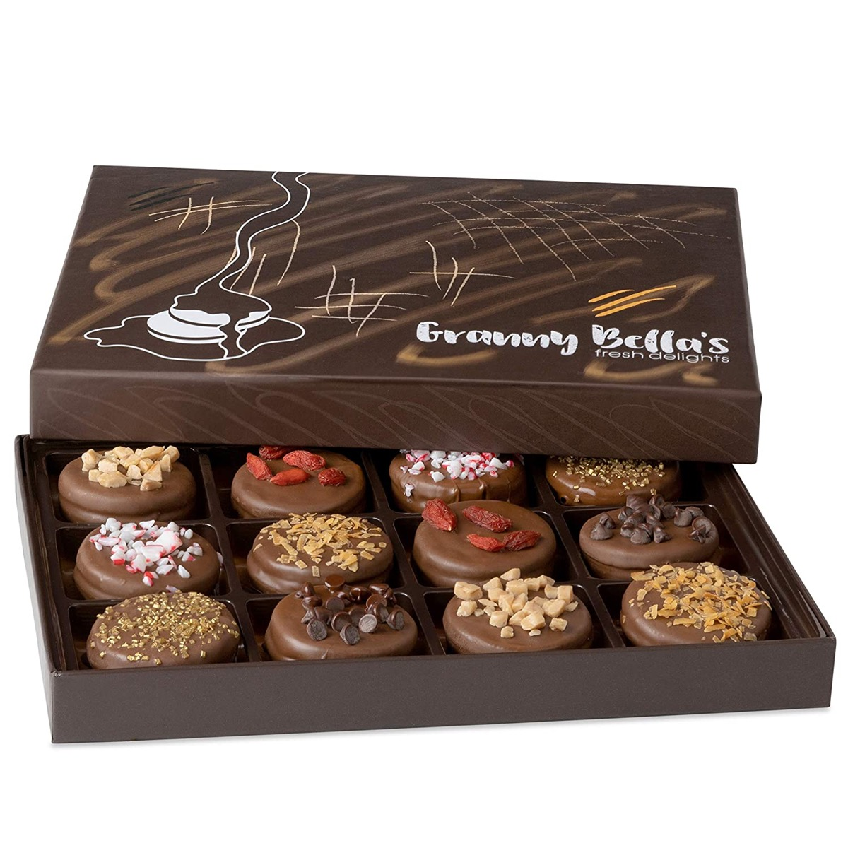 chocolate covered cookies in brown box