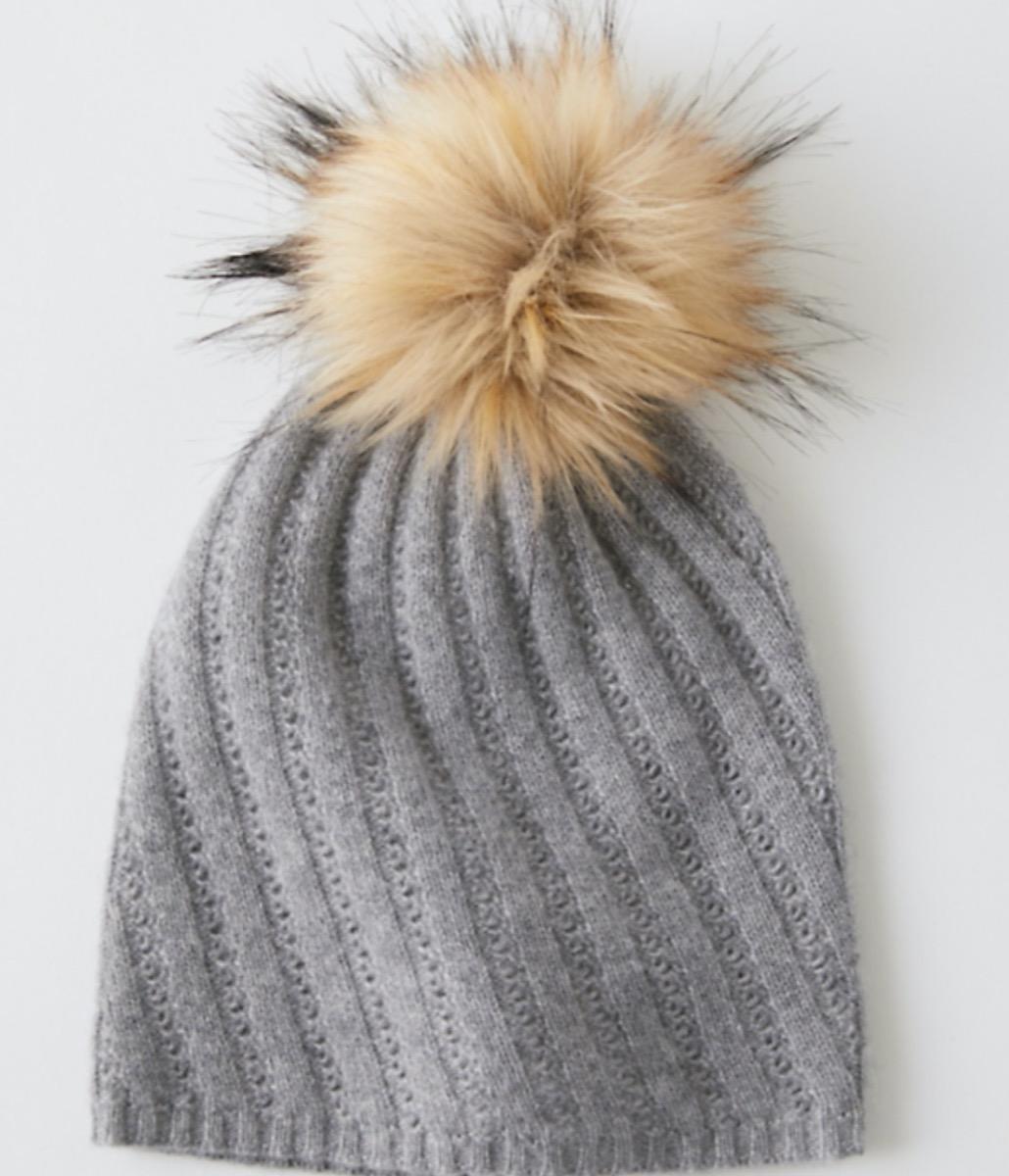 gray cashmere hat with brown pom pom