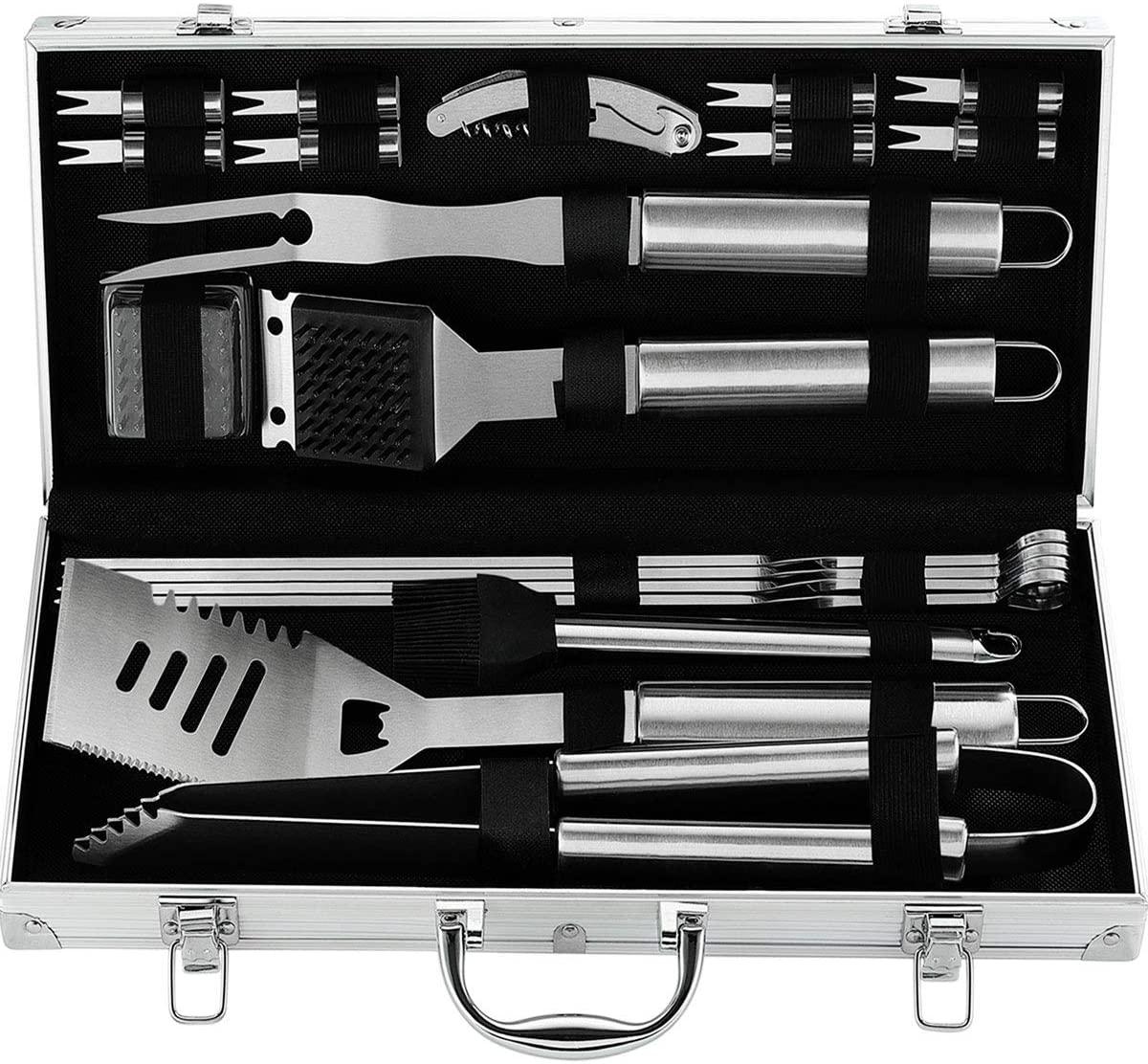 attache full of silver barbecue tools