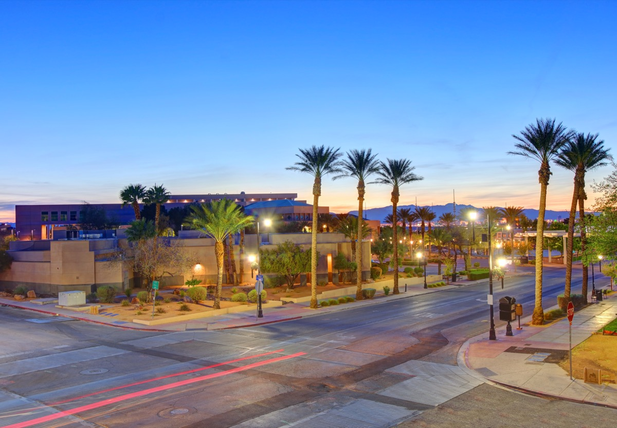 cityscape photo of downtown Henderson, Nevada at dusk