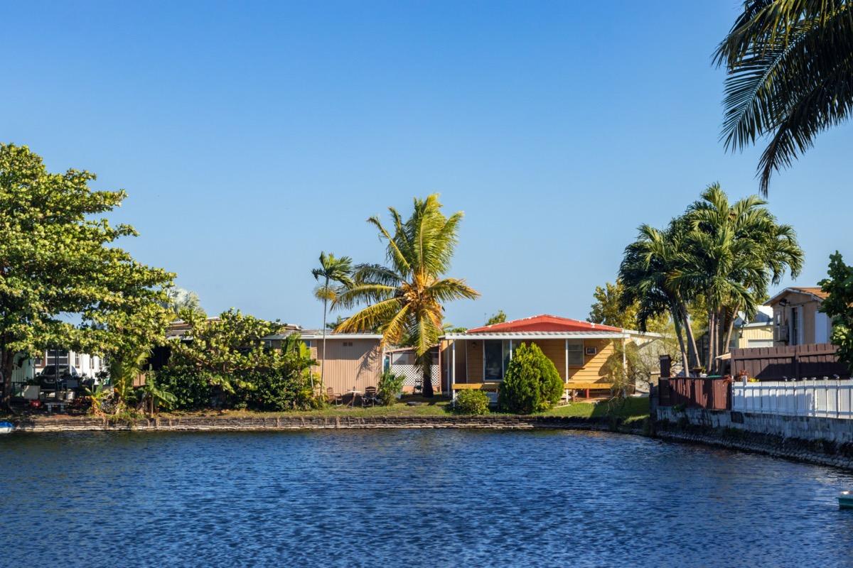 lake and homes in Hialeah, Florida