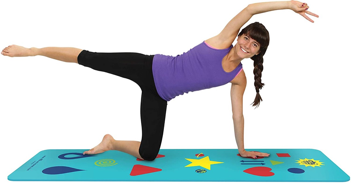 woman using yoga mat