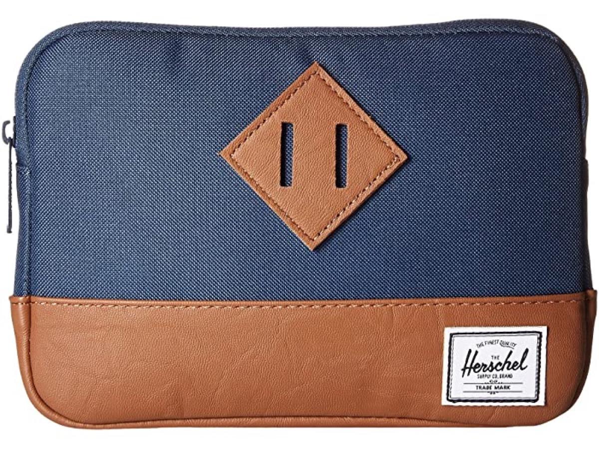 blue ipad sleeve with leather bottom