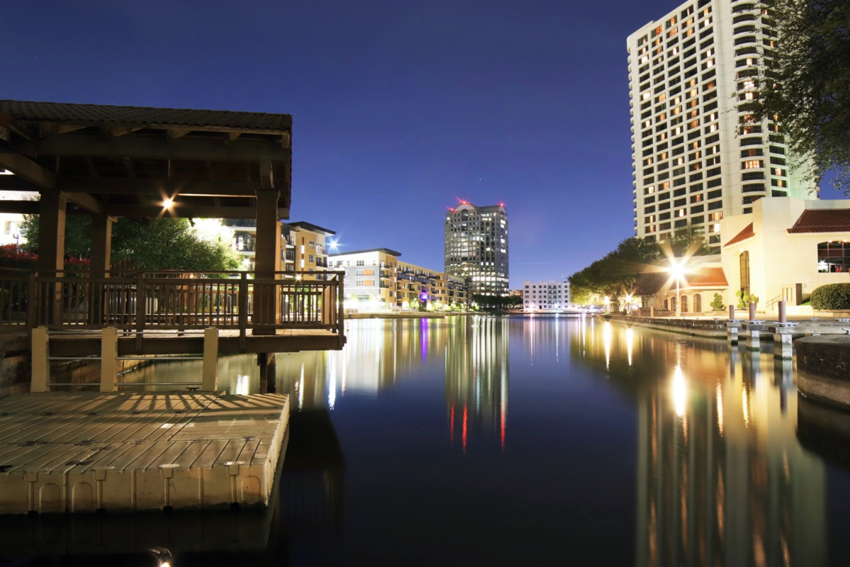cityscape photo of downtown Irving, Texas at night