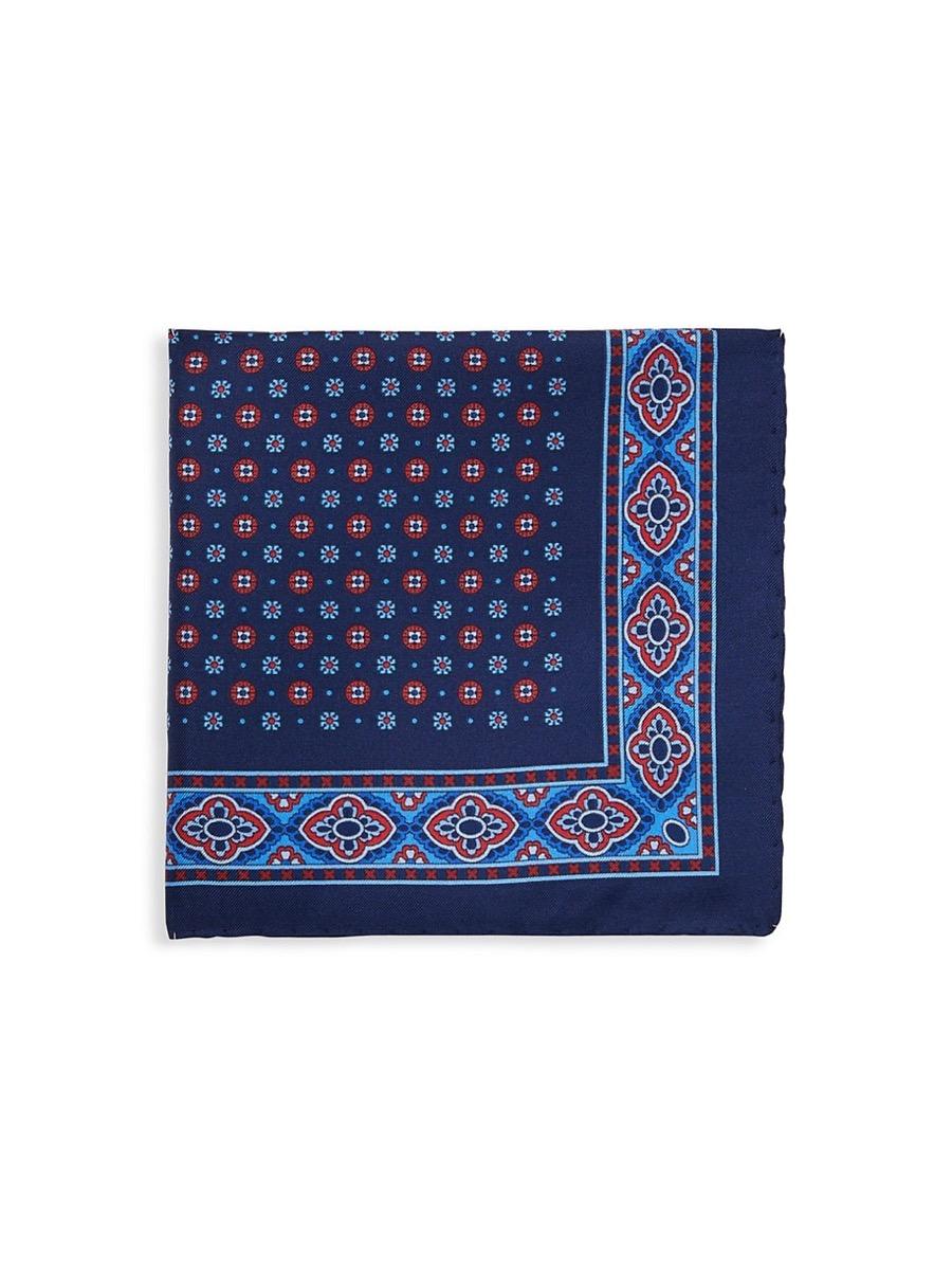 blue patterned silk pocket square