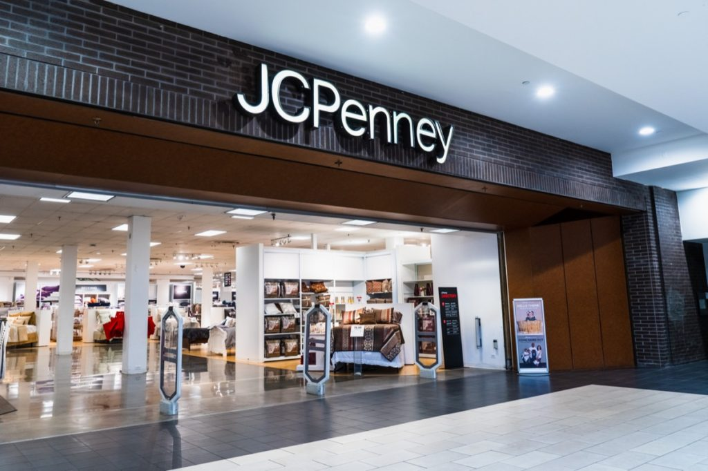 the entrance of a JCPenny at a mall in San Jose, California