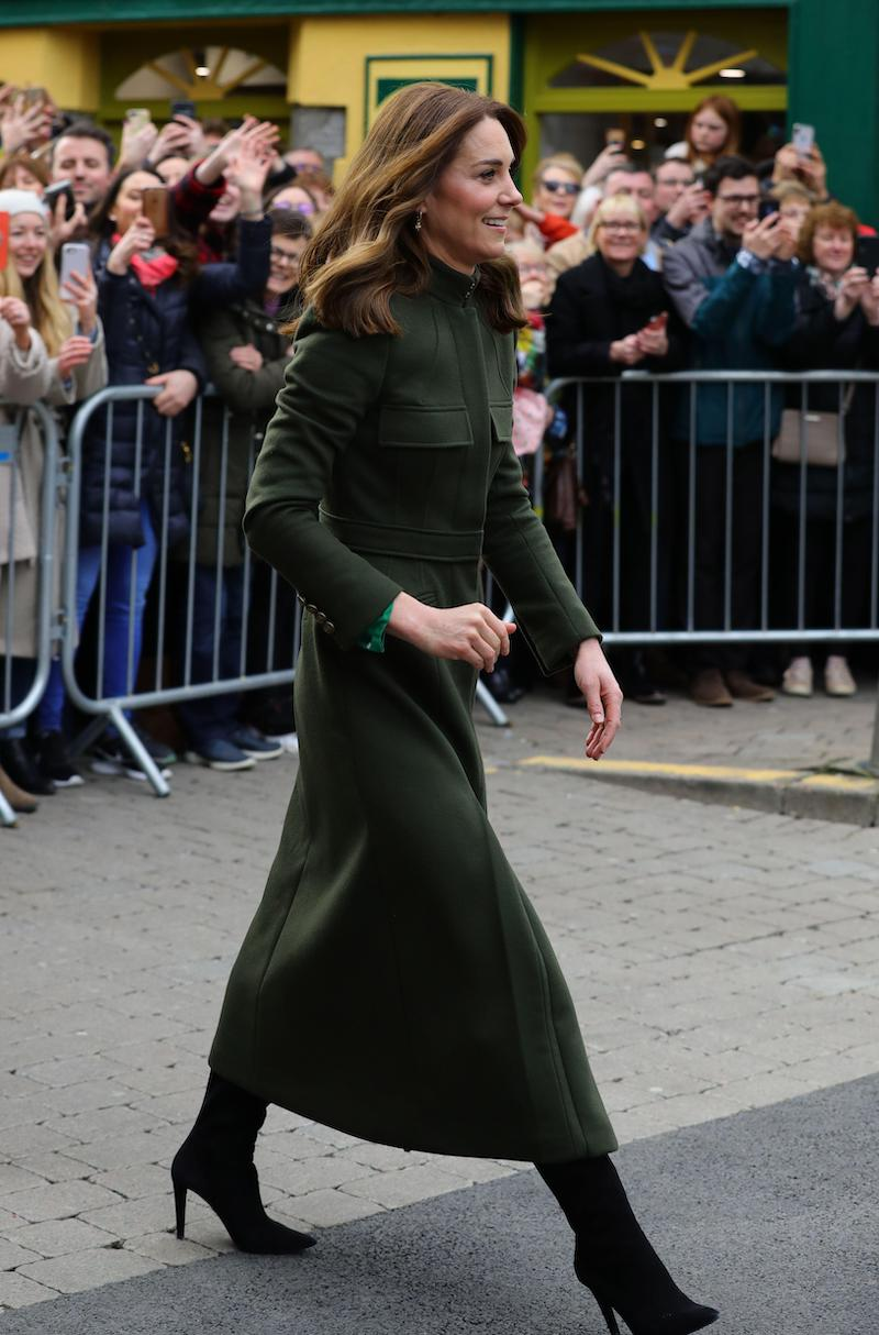 The Duchess of Cambridge meets local Galwegians after a visit to a traditional Irish pub in Galway city centre on the third day of her visit to the Republic of Ireland in March 2020