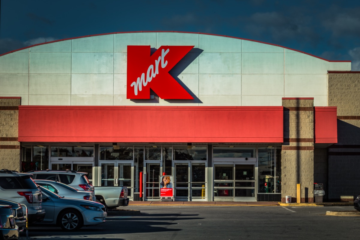 the entrance of and a parking lot in front of a Kmart in Mountville, Pennsylvania