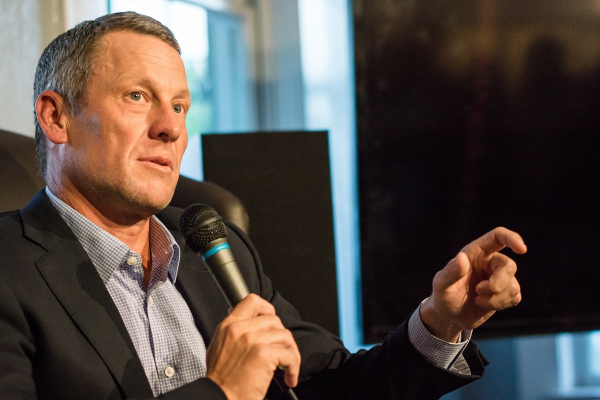 Lance Armstrong speaking at the University of Texas in 2015