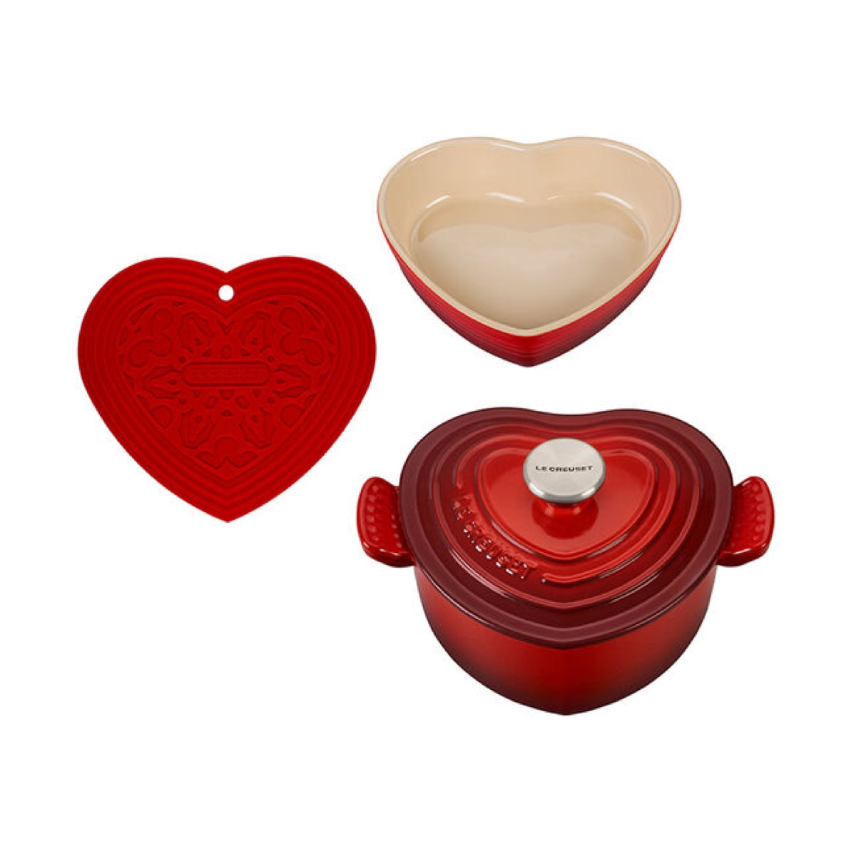 heart shaped dish with lid, heart shaped open dish, and heart shaped trivet in red