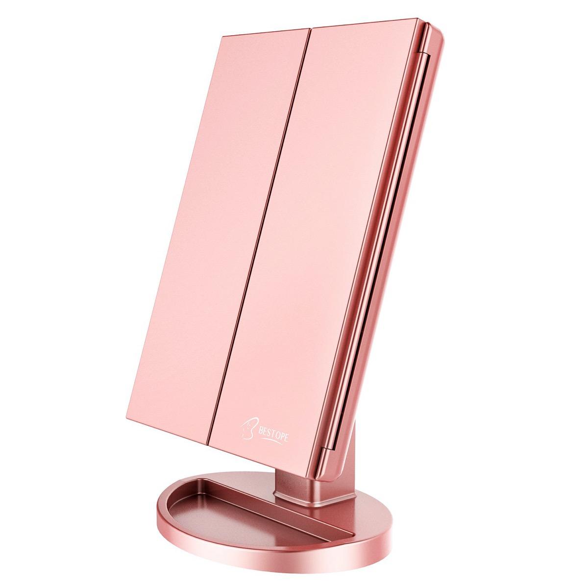 pink led makeup mirror