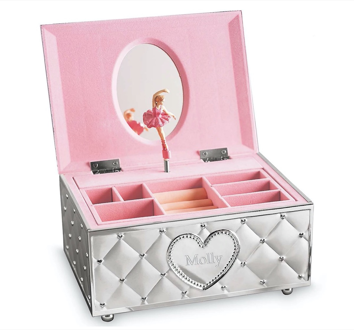"""silver jewelry box with ballerina inside and exterior heart reading """"Molly"""""""