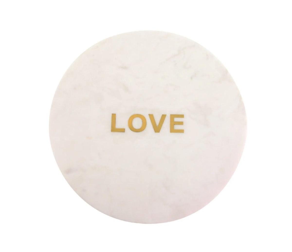 """white round marble cutting board with """"love"""" in gold letters"""
