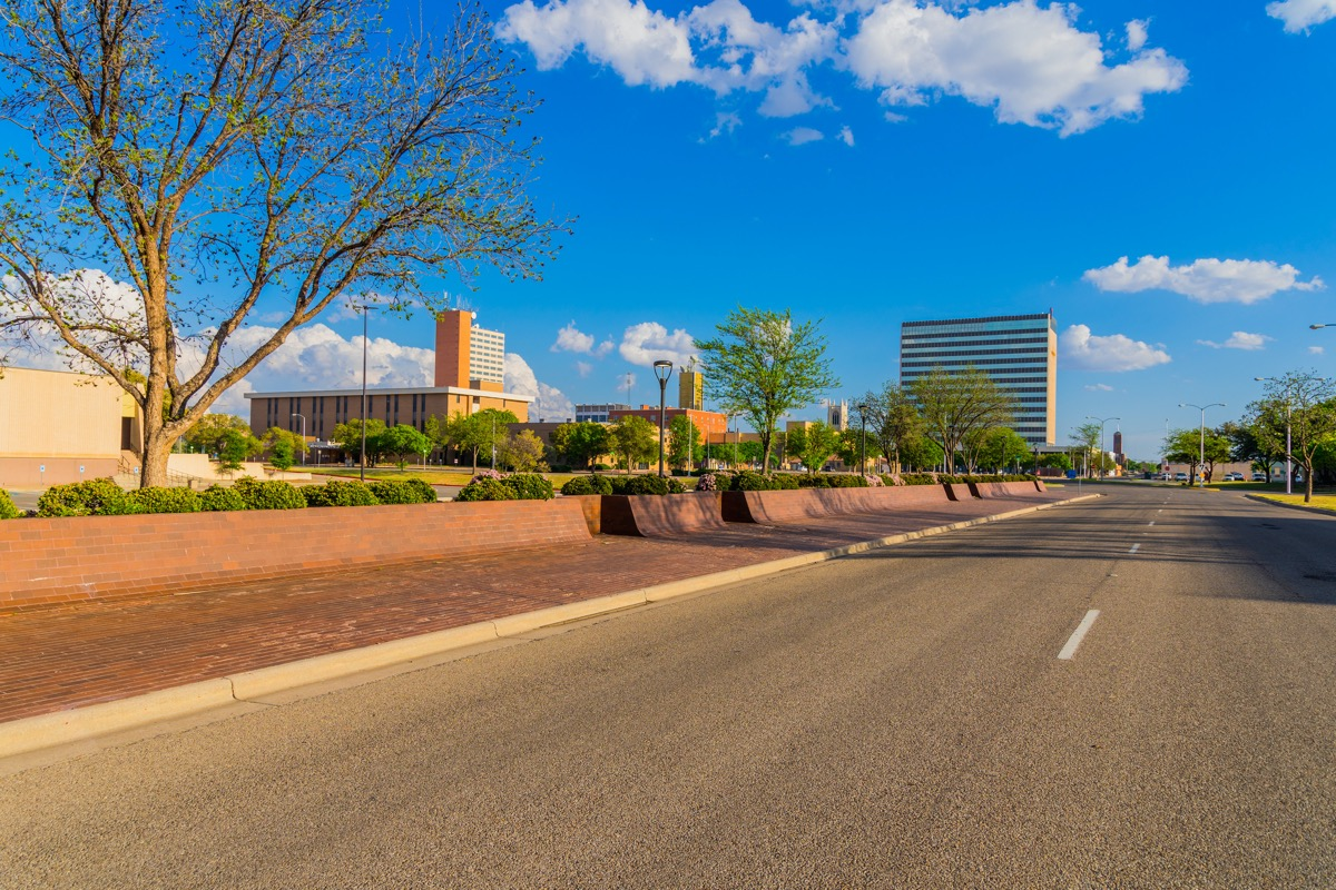 road in and city skyline of Lubbock, Texas