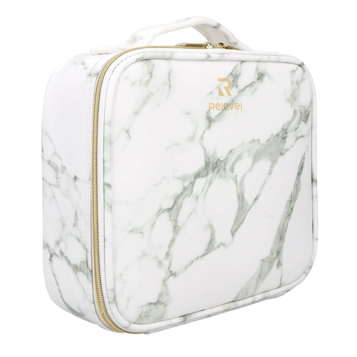 white and gray marble-look makeup case