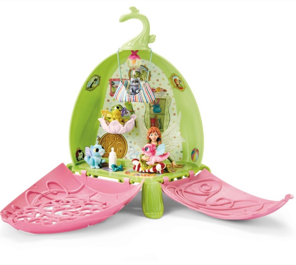 green and pink fairy house toy