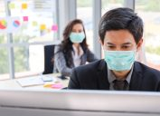People wearing masks at work