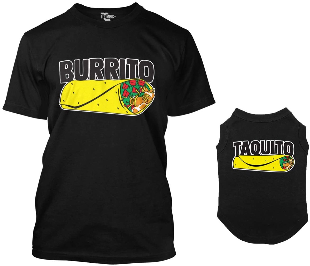 """a black shirt for humans that reads """"burrito"""" and a black shirt for dogs reading """"taquito"""" with the images of either item below the words"""
