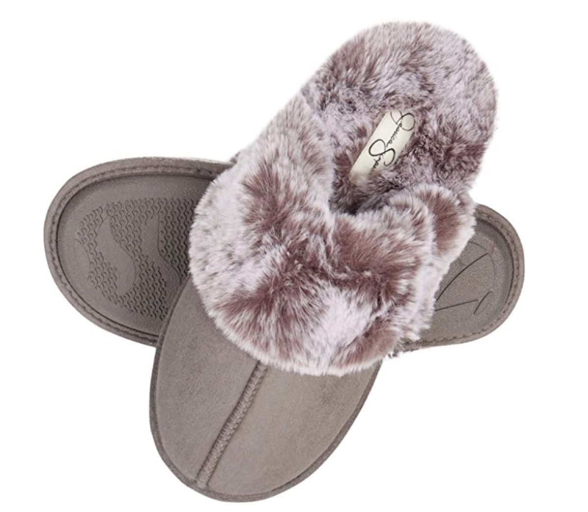 gray slippers with faux fur lining