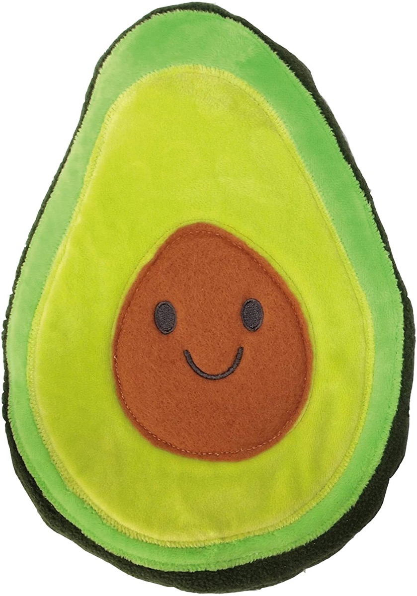 felt pillow that looks like an avocado with a smiley face on pit
