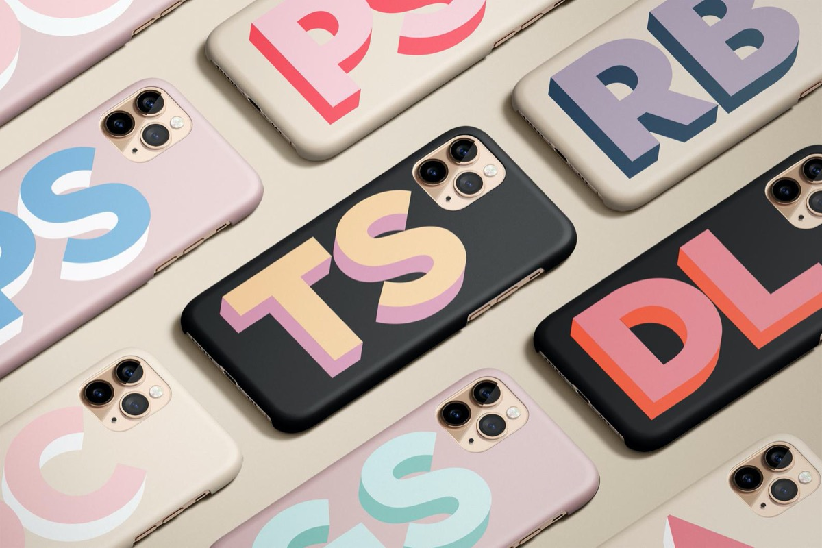 rows of multicolored monogrammed phone cases