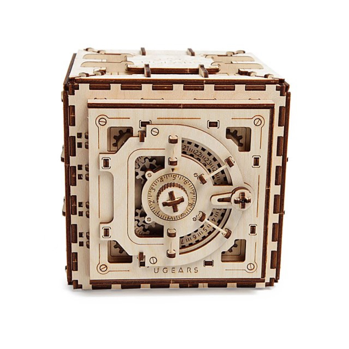 wooden puzzle in the shape of a safe