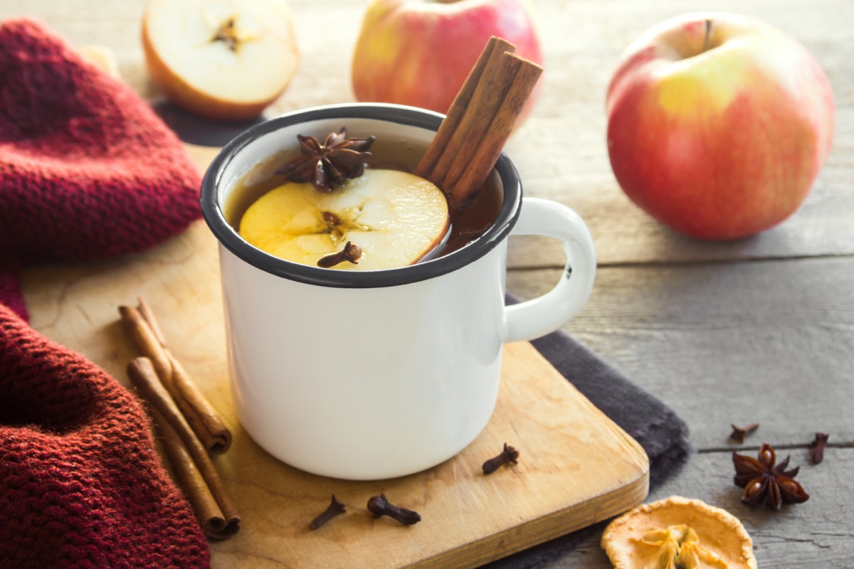 mulled cider with cinnamon stick in mug